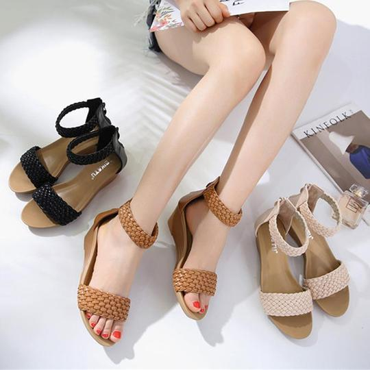 Women Summer Wedge Gladiator sandals Open toe Shoes Women Bohemia weave Beach High Heels Sandals Black Brown 35-42