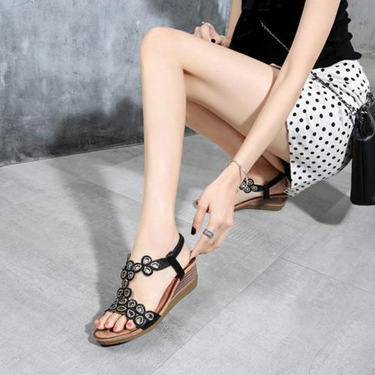 Women Summer Shoes Woman Sandals Women Fashion Crystal Ankle Strap Wedges Sandals Formal High Heel Gladiator Sandalias