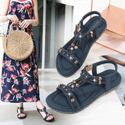 Woman Bohemian sandals fashion beaded rhinestones new large size sandals female round head flat with sandals wholesale Women Shoes