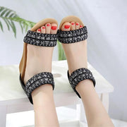 Women new arrival sandals sweet Bohemian Style summer shoes simple zipper elegant wedges shoes woman black