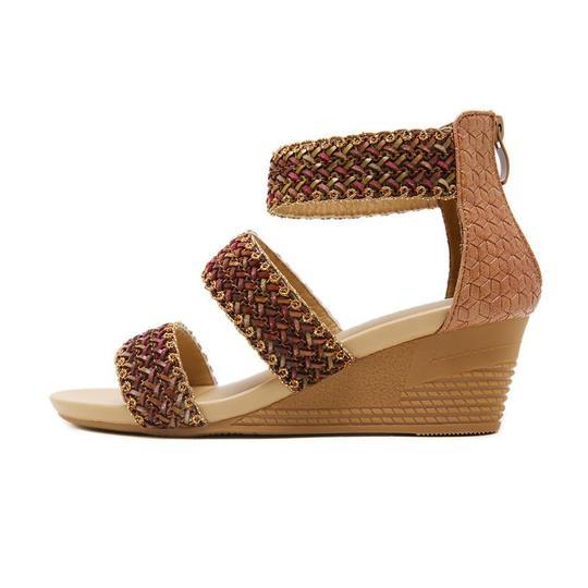 Woman Plus Size Shoes Sandals Braided Sandalias Mujer Ankle Wrap Wedges Shoes For Women Summer Gladiator Sandals sandalia
