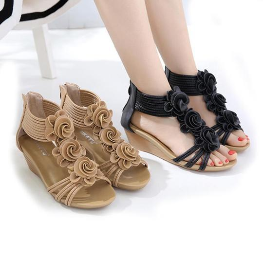 Women Gladiator Sandals Summer New Woman Fashion Platform Mid Heels Open Toe Wedge Sandals Soft Leather Sexy Casual Shoes