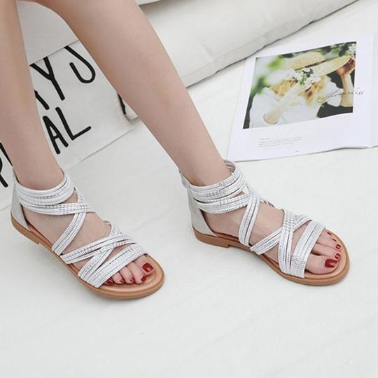Women Black White Rome Sandals Women Shoes Summer Women Sandals Flat Summer Ladies Shoes Woman Beach Sandals