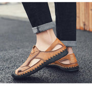 Men Round Toe Casual Leather Shoes Hollow Sandals