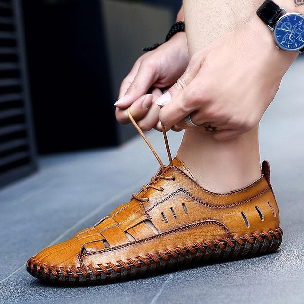 Men Round Toe Casual Leather Shoes