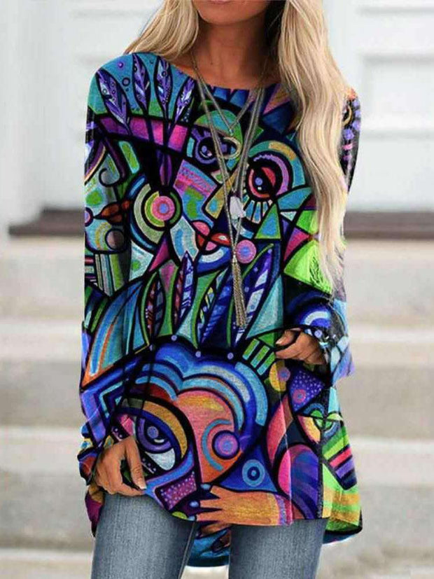 Women Long Sleeve Round Neck Art Printed Autumn Tops
