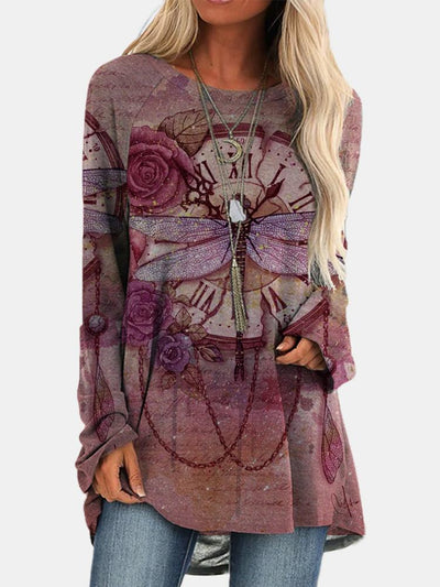Women Long Sleeve Round Neck Floral Printed Autumn Tops