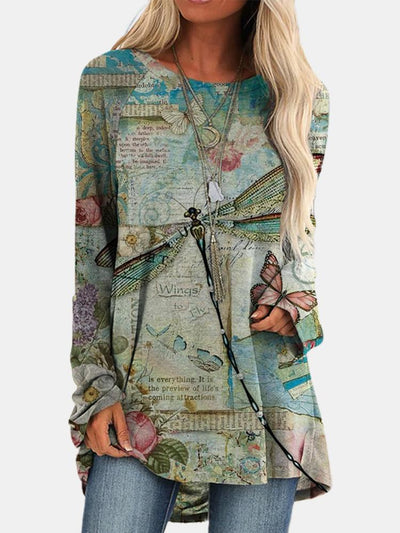 Women Long Sleeve Round Neck Dragonfly Printed Autumn Tops
