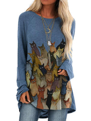 Women Long Sleeve Round Neck Animal Printed Autumn Tops
