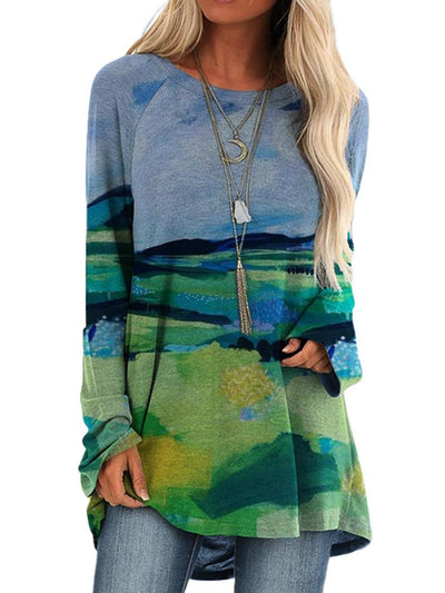 Women Long Sleeve Round Neck Hills Printed Autumn Tops