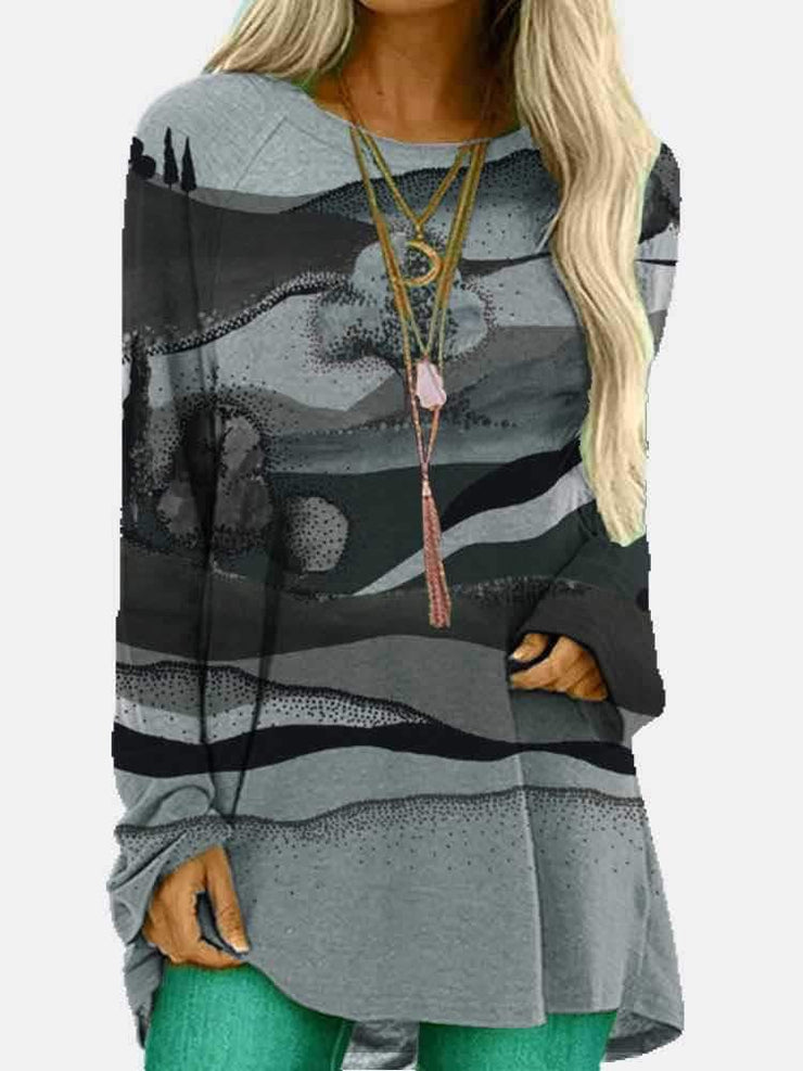 Women Long Sleeve Round Neck Hills Print Autumn Tops