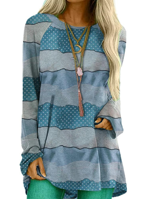 Women Long Sleeve Round Neck Striped Print Autumn Tops