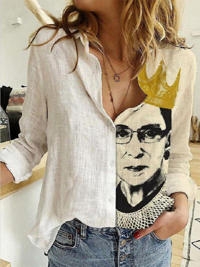 Women Long Sleeve Shirt Collar Portrait Printed Tops Blouse