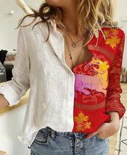 Women Long Sleeve Shirt Collar Animal Print Tops Blouse