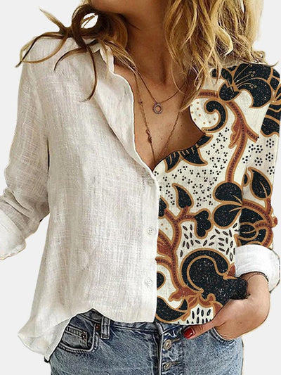 Women Long Sleeve Shirt Collar Floral Printed Tops Blouse