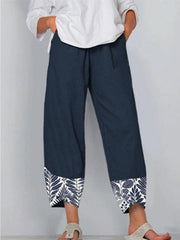 Women Casual Elastic Waist Leaves Printed Loose Hem Pants with Pockets
