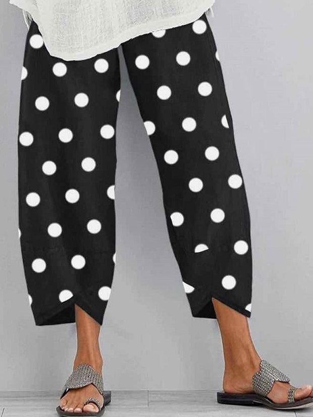 Women Casual Elastic Waist Polka Dot Loose Hem Pants with Pockets