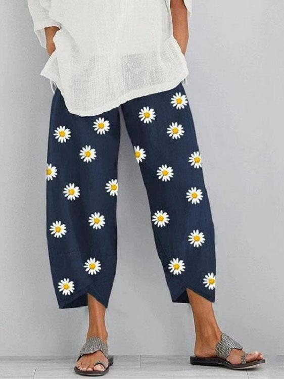 Women Casual Elastic Waist Floral Printed Loose Hem Pants with Pockets