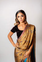 Load image into Gallery viewer, Teal and Brown floral - Semi Stitched Saree