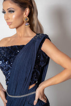 Load image into Gallery viewer, Navy Lycra Saree with blouse
