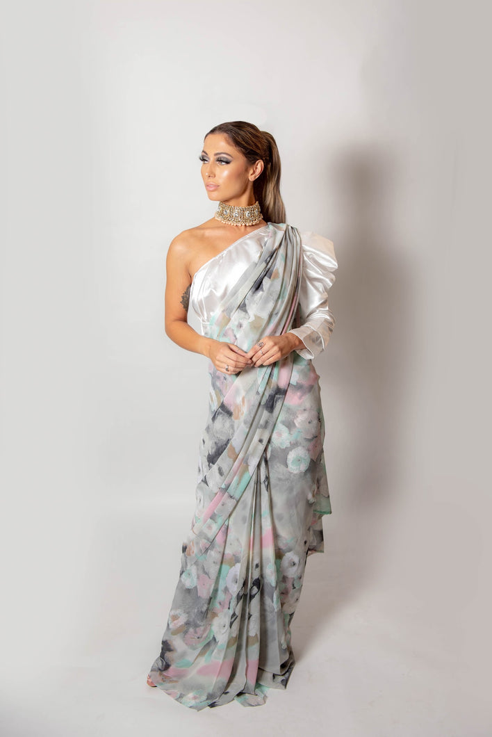 Grey and Pink dusk -Semi Stitched Saree