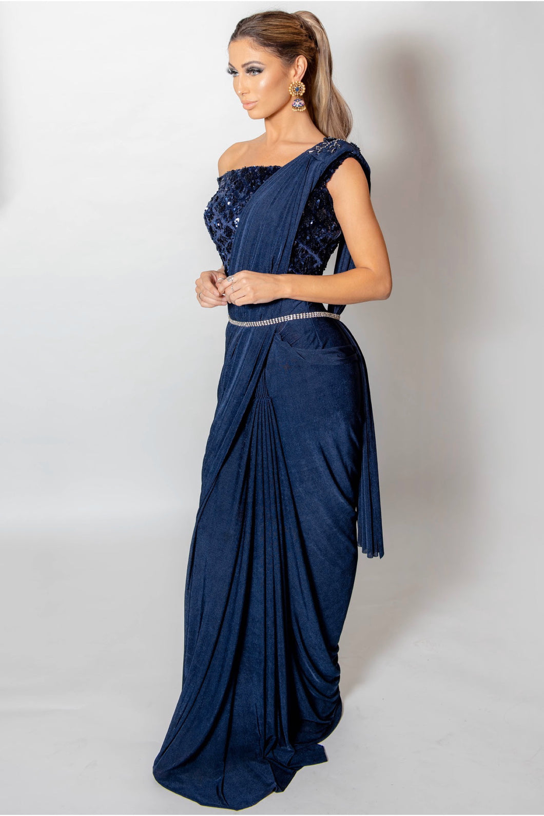 Navy Lycra Saree with blouse