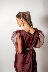 Maroon Ruffle Saree - Loose Stitch