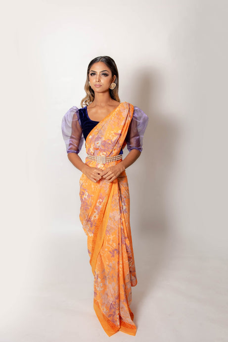 Orange and Lilac - Semi Stitched Saree
