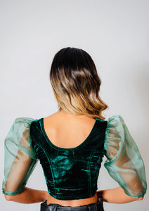 Velvet blouse - Emerald