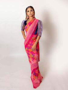 Squares Multi Coloured - Semi Stitched Saree