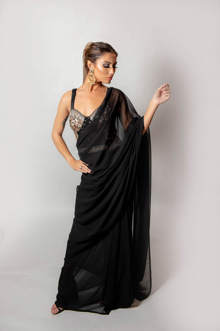 Shelby Black Saree - Semi Stitched