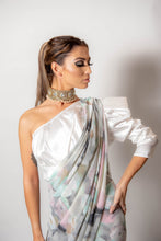 Load image into Gallery viewer, Grey and Pink dusk -Semi Stitched Saree