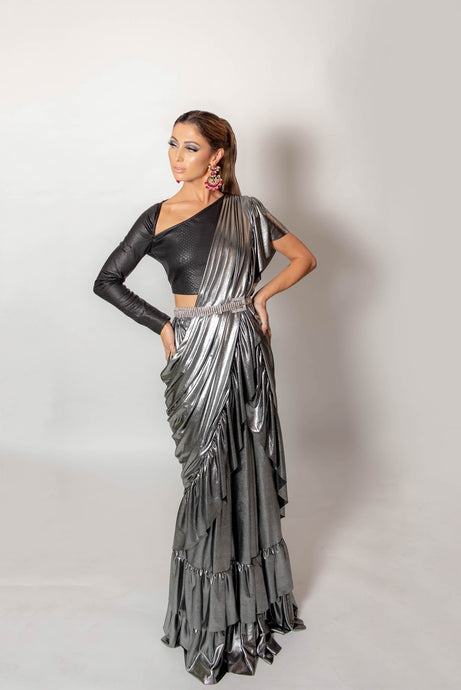 Metallic ruffle saree with blouse