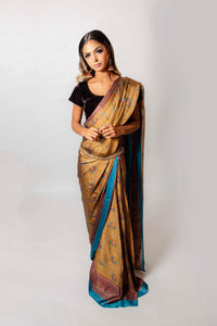 Teal and Brown floral - Semi Stitched Saree