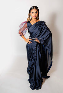 Blue Ruffle Saree - Loose Stitch