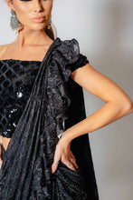 Load image into Gallery viewer, Black and Silver ruffle saree with blouse