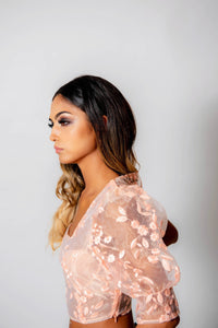 Sheer embroidered blouse - Peach