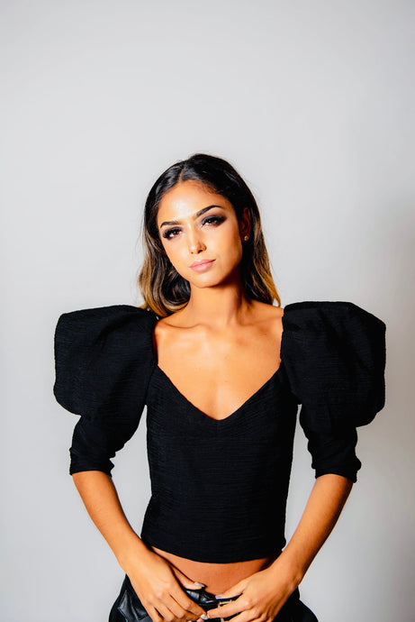 Oversized Sleeve Blouse - Black