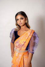 Load image into Gallery viewer, Orange and Lilac - Semi Stitched Saree