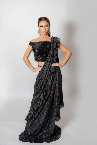 Black and Silver frill saree with blouse