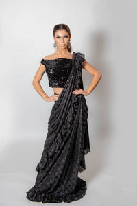 Black and Silver ruffle saree with blouse