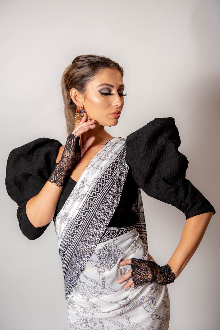 White and Black Floral - Semi stitched Saree