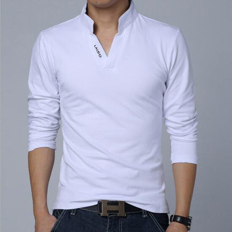 Men's Solid V-neck Cotton T-shirt