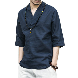 Men's National Style Vintage Loose Linen Casual Shirt