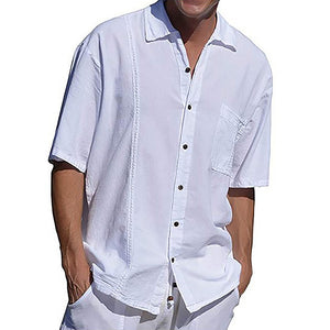 Solid Shirt Collar Shirts Plus Size Men's T-shirts