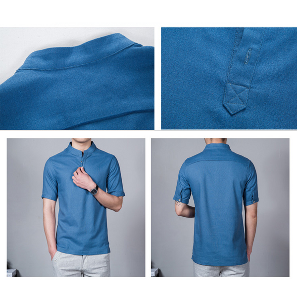 Large Size L-5XL Men's Stand Collar Short-sleeved Cotton Linen T-shirt