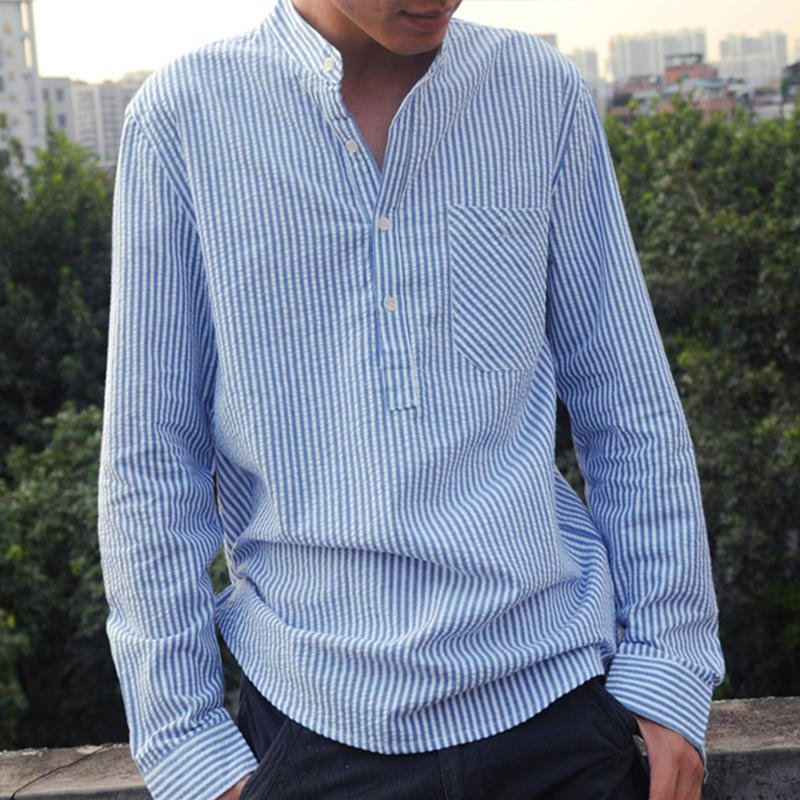 95e3abb14 Plus Size S-5XL Men's Loose Casual Striped Breathable Shirts