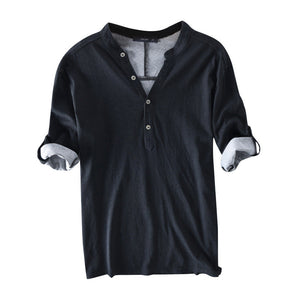 Mens Casual Breathable Solid Color Half Sleeve Spring Summer Buttons T Shirts