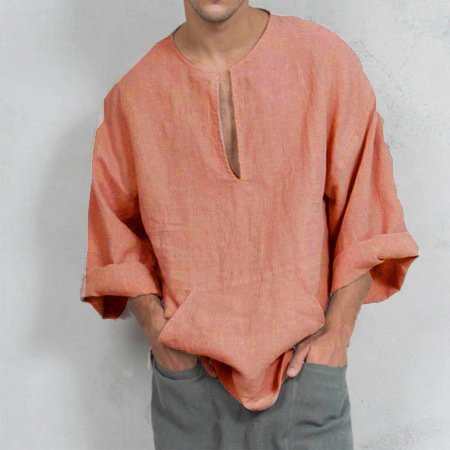 Finepercent Plus Size Men's Linen Bell Sleeve Shirts