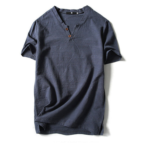 Linen Solid Color Short Sleeve Casual T-Shirt